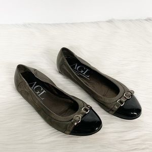 AGL | Taupe Gray Leather Captoe Flats
